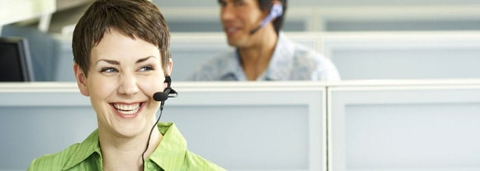 Lady working at call centre