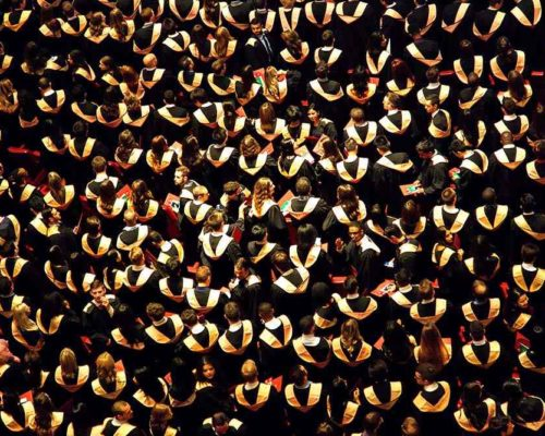 Birds eye view of graduates at their graduation ceremony